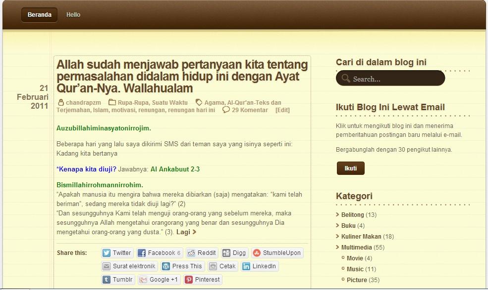Screenshoot tampilan blog