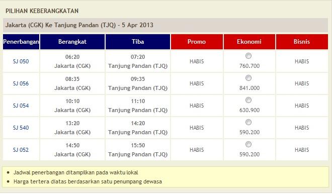 Harga Tiket Sriwijaya dari Jakarta ke Tanjung Pandan 5 April 2013